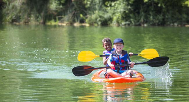 Kids Kayaking in Summer Camp