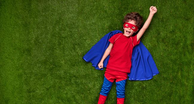 Kid Dressed Up As Superhero